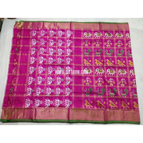 Pochampally Ikkat Silk Saree with Zari Checks-Light Pink-Sitarini-PSHIPS241