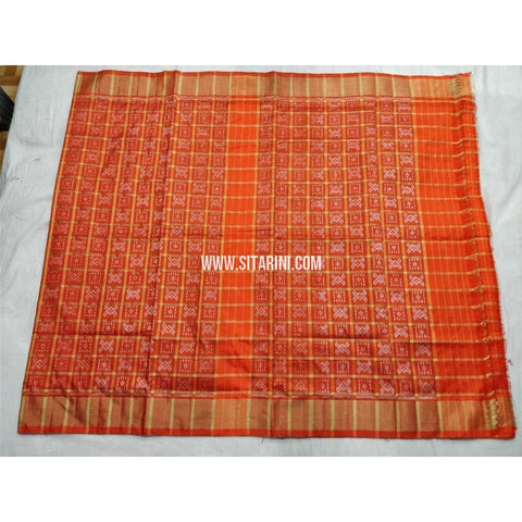 Pochampally Ikkat Silk Saree with Zari Checks-Orange-Sitarini-PSHIPS247
