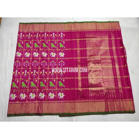 Pochampally Ikkat Silk Saree with Zari Checks-Pink-Sitarini-PSHIPS239