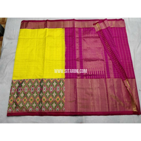 Pochampally Ikkat Silk Saree-Yellow and Magenta-Sitarini-PSHIPS245