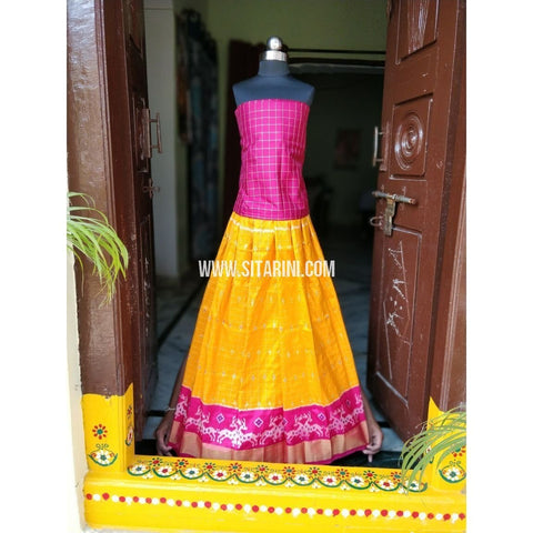 Pochampally Ikkat Zari Lines Pattu Lehenga-Pink and Yellow-Sitarini-PSHIPLK100
