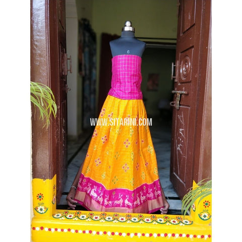Pochampally Ikkat Zari Lines Pattu Lehenga-Pink and Yellow-Sitarini-PSHIPLK103