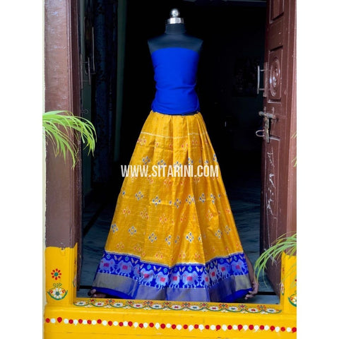 Pochampally Ikkat Zari Lines Pattu Lehenga-Royal Blue and Yellow-Sitarini-PSHIPLK104