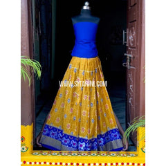 Pochampally Ikkat Zari Lines Pattu Lehenga-Royal Blue and Yellow-Sitarini-PSHIPLK112