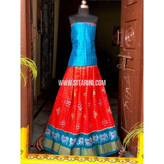 Pochampally Ikkat Zari Lines Pattu Lehenga-Sky Blue and Red-Sitarini-PSHIPLK107