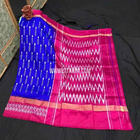 Pochampally Light Weight Saree-Pattu-Blue-Sitarini-SITIPS970