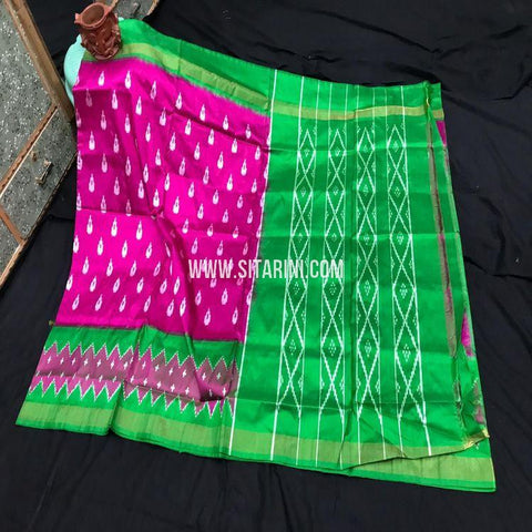 Pochampally Light Weight Saree-Silk-Magenta-Sitarini-SITIPS992