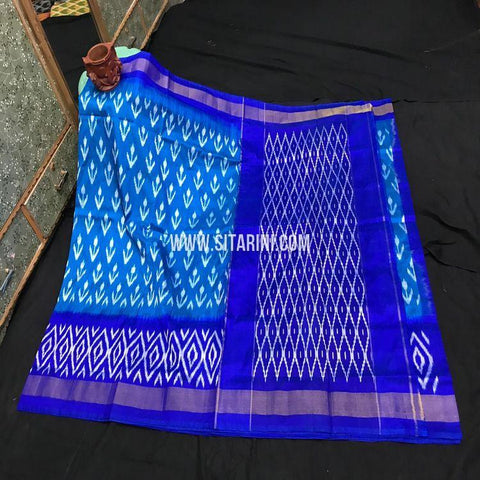 Pochampally Pattu Light Weight Saree-Blue-Sitarini-SITIPS971