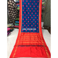 Pochampally Pattu Saree-Blue and Orange-Sitarini-PGMHIPS103