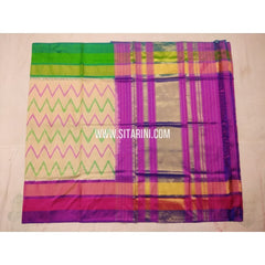 Pochampally Pattu Saree-Cream and Purple-Sitarini-PVHIPS116