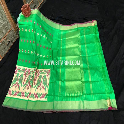 Pochampally Pattu Saree-Green-Sitarini-SITIPS882