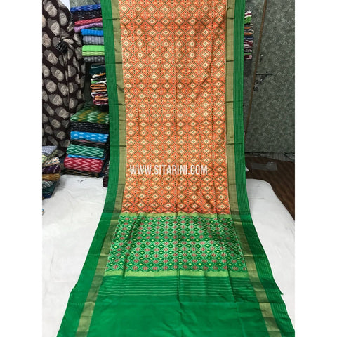 Pochampally Pattu Saree-Mustard Yellow and Light green-Sitarini-PGMHIPS106