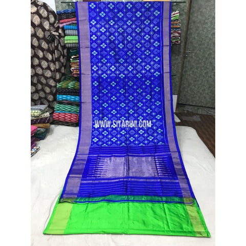 Pochampally Pattu Saree-Royal Blue and Parrot Green-Sitarini-PGMHIPS101