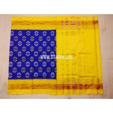 Pochampally Pattu Saree-Royal Blue and Yellow-Sitarini-PVHIPS112