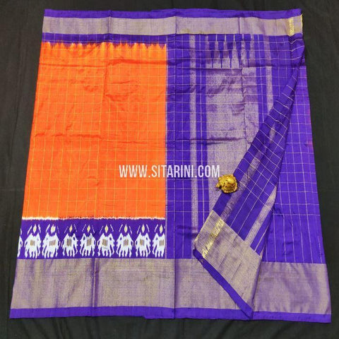 Pochampally Saree-Pattu-Orange-Sitarini-SITIPS862