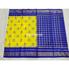 Pochampally Saree-Silk-Lemon Yellow and Royal Blue-Sitarini-PSHIPS285