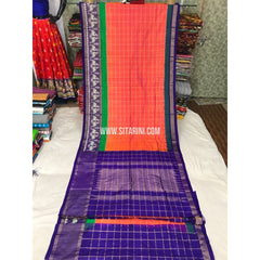 Pochampally Saree-Silk-Orange and Blue-Sitarini-PGMHIPS118