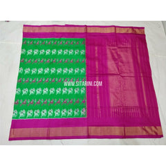 Pochampally Saree-Silk-Parrot Green and Pink-Sitarini-PSHIPS289