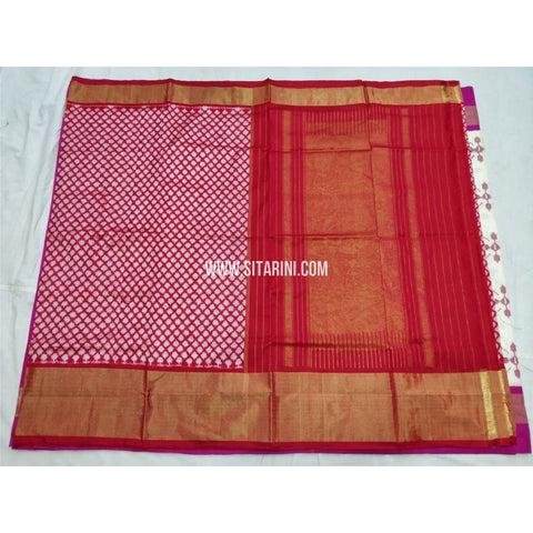 Pochampally Saree-Silk-Red and White Checks-Sitarini-PSHIPS291