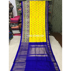 Pochampally Sarees-Silk-Lemon Yellow and Royal Blue-Sitarini-PGMHIPS119
