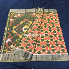 Pochampally Silk Cotton Saree-Multicolor-Sitarini-SITISCS157