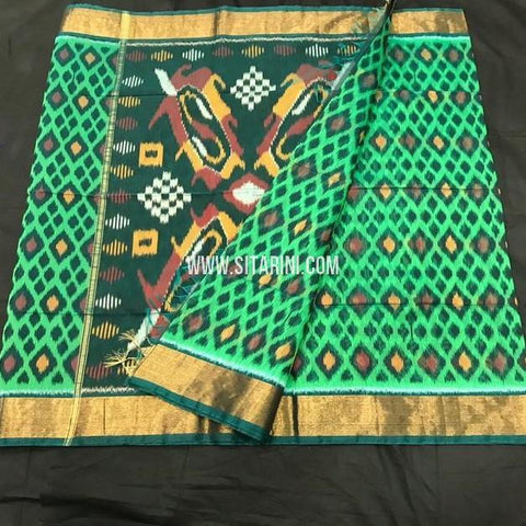 Pochampally Silk Cotton Saree-Multicolor-Sitarini-SITISCS170