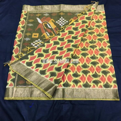 Pochampally Silk Cotton Saree-Multicolor-Sitarini-SITISCS172