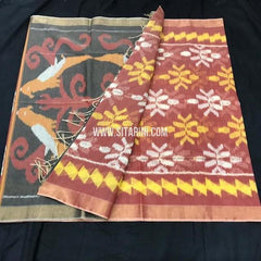 Pochampally Silk Cotton Saree-Multicolor-Sitarini-SITISCS178