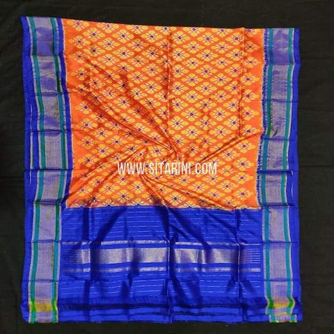 Pochampally silk Dupatta-Orange-Sitarini-SITIPD551