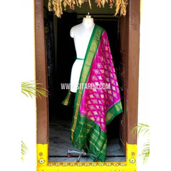 Pochampally Silk Dupattas-Pink and Green-Sitarini-PSHIPD118