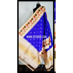 Pochampally Silk Dupattas-Royal Blue and Cream-Sitarini-PSHIPD143
