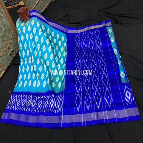 Pochampally Silk Light Weight Saree-Blue-Sitarini-SITIPS964