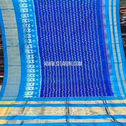 Pochampally Silk Saree-Blue-Sitarini-SITIPS755