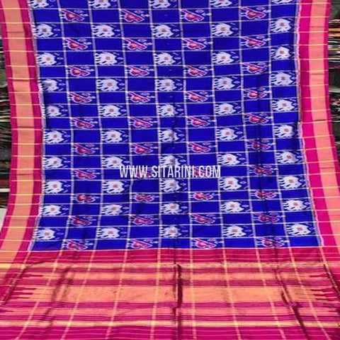 Pochampally Silk Saree-Blue-Sitarini-SITIPS757