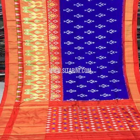 Pochampally Silk Saree-Blue-Sitarini-SITIPS758