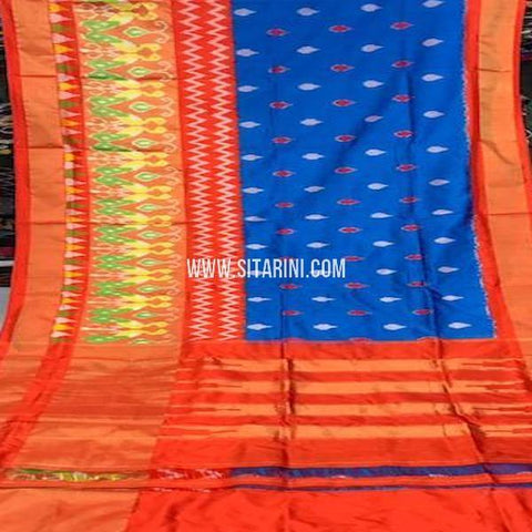 Pochampally Silk Saree-Blue-Sitarini-SITIPS759