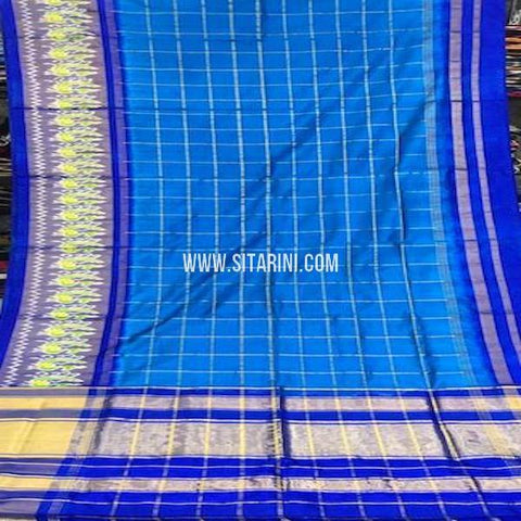 Pochampally Silk Saree-Blue-Sitarini-SITIPS762