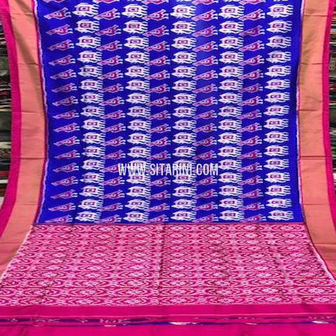 Pochampally Silk Saree-Blue-Sitarini-SITIPS764