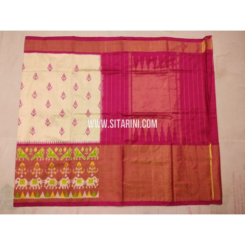 Pochampally Silk Saree-Cream and Magenta-Sitarini-PVHIPS130