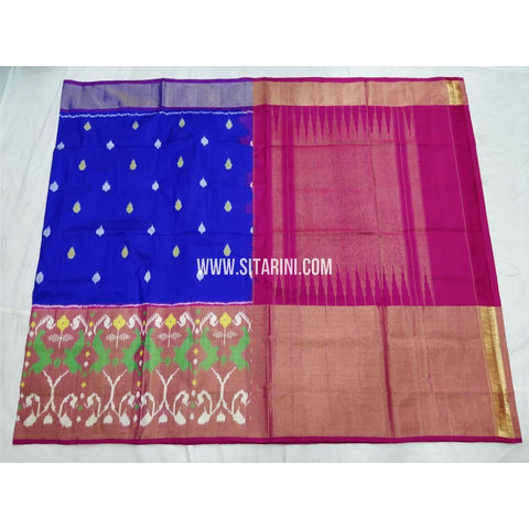 Pochampally Silk Saree-Royal Blue and Magenta-Sitarini-PSHIPS270