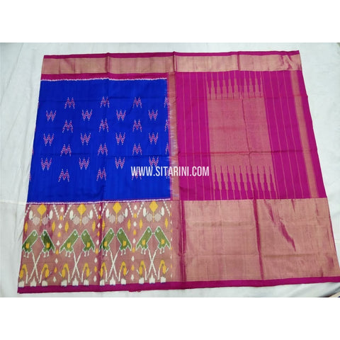 Pochampally Silk Saree-Royal Blue and Magenta-Sitarini-PSHIPS271