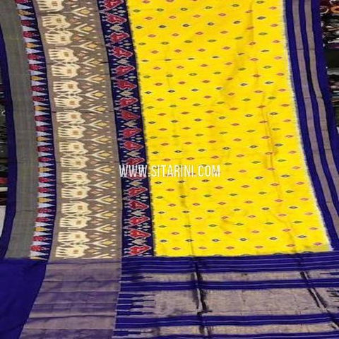 Pochampally Silk Saree-Yellow-Sitarini-SITIPS773
