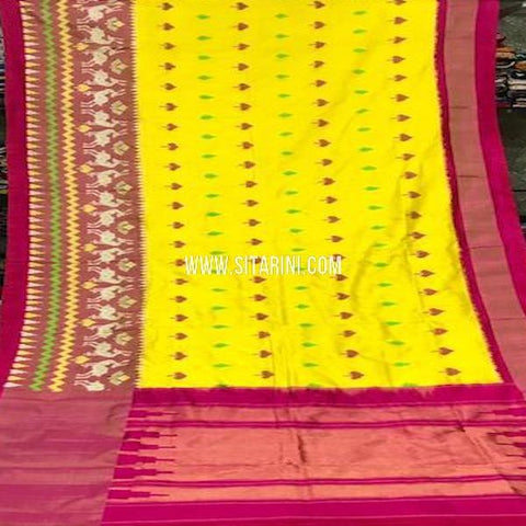 Pochampally Silk Saree-Yellow-Sitarini-SITIPS774