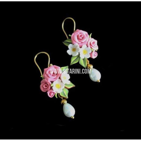 Polymer Clay Earrings-Floral Design-Sitarini-SAHPCE106