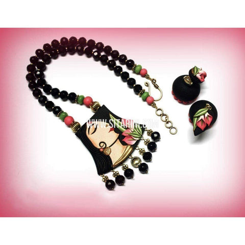 Polymer Clay Jewelry-Necklace and Earrings-Black-Sitarini-SAHPCE157