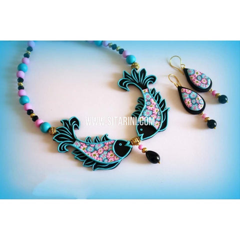 Polymer Clay Jewelry-Necklace and Earrings-Blue and Pink-Sitarini-SAHPCE158