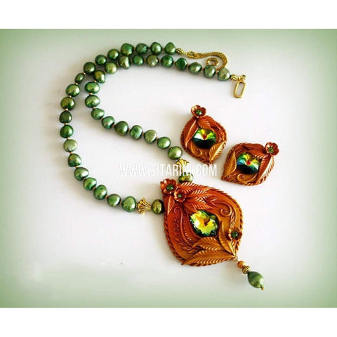 Polymer Clay Jewelry-Necklace and Earrings-Green and Gold-Sitarini-SAHPCE159