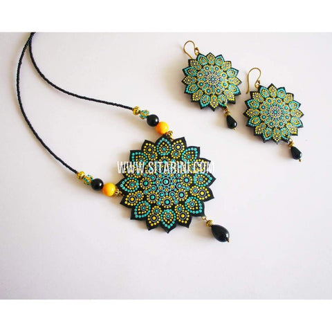 Polymer Clay Jewelry-Necklace and Earrings-Sitarini-SAHPCE129
