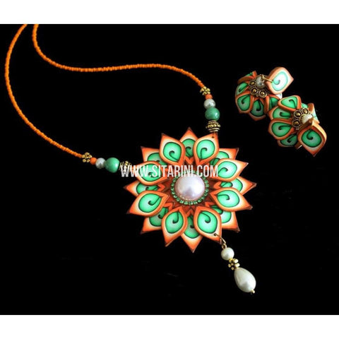 Polymer Clay Jewelry-Necklace and Earrings-Sitarini-SAHPCE137