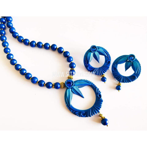 Polymer Clay Jewelry-Necklace and Earrings-Sitarini-SAHPCE143
